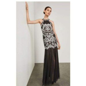 NWT bcbg Black Embroidered Strappy Halter Gown 6